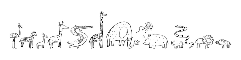 Advertising banner, set sketch african animals.