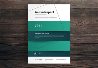 Annual Report Cover Layout with Green Striped Background