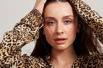Model wearing animal print clothing