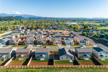 Drone view of a scenic suburban neighborhood