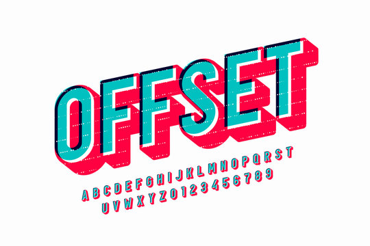 Offset print style font design, alphabet letters and numbers