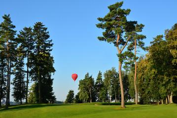 Obraz czerwony balon na niebie, drzewa - fototapety do salonu