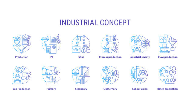 Industrial blue concept icons set. Economy segment idea thin line illustrations. Primary, secondary industry. Batch production, labour union. Vector isolated outline drawings. Editable stroke