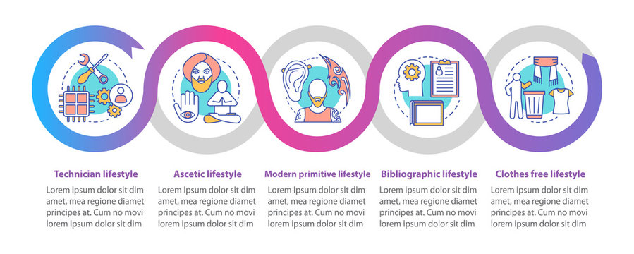 Lifestyle types vector infographic template. Technician. Business presentation design elements. Data visualization with five steps, options. Process timeline chart. Workflow layout with linear icons