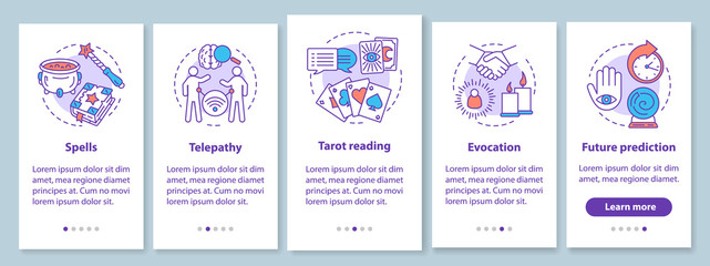 Magic services onboarding mobile app page screen with linear concepts. Telepathy, evocation, tarot reading walkthrough steps graphic instructions. UX, UI, GUI vector template with illustrations