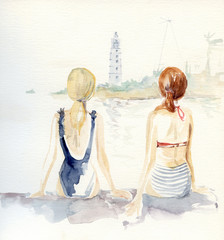 Watercolor sketch of two unrecognizable girls looking at lighthouse