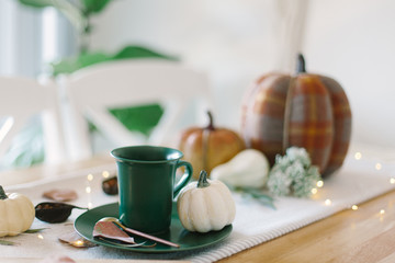 Thanksgiving table setting. Green cup of coffee with cream, orange and plaid pumpkin, string lights and dry greenery. Wall mural