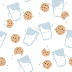 Cute vector cartoons pattern with glass of milk and cookies. Friends forever.