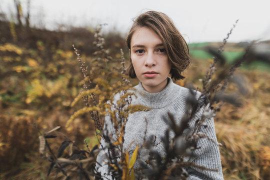 Autumn flower girl