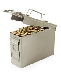 Box full of ammunition isolated on white background