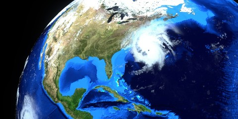 Hurricane Dorian extremely detailed and realistic high resolution 3d illustration. Shot from Space. Elements of this image are furnished by NASA