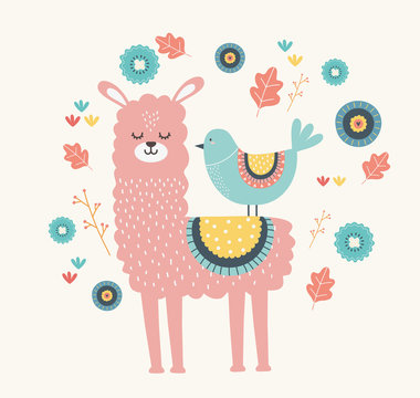 Llama and bird cartoon design vector illustration
