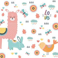 Rabbit llama and bird cartoon design vector illustration