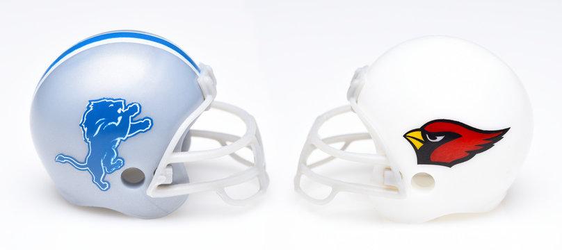 IRVINE, CALIFORNIA - SEPTEMBER 6, 2019: Football helmets of the Detriot Lions vs Arizona Cardinals, Week One opponents in the NFL 2019 Season