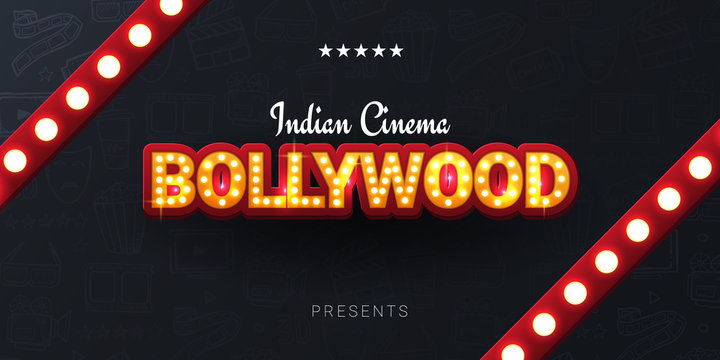 Bollywood indian cinema. Movie banner or poster in retro style with hand draw doodle background.