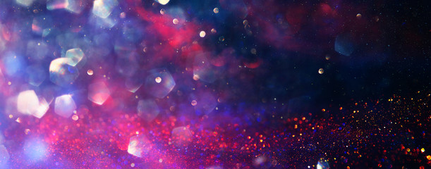 Fototapete - background of abstract red, gold and purple glitter lights. defocused. banner