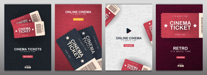 Set of Cinema banners with tickets. Hand draw doodle background.
