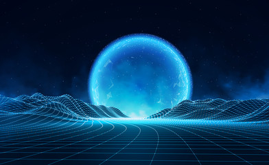 Photo sur Aluminium Bleu nuit Vector retro futuristic background. Abstract digital landscape with particles dots and stars on horizon. Wireframe landscape background. Big Data Digital retro landscape Retro Sci-Fi Background.