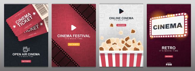 Set of Cinema banners with tickets, film strips, popcorn and theatre sign. Hand draw doodle background.