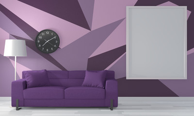 Ideas of purple room Geometric Wall Art Paint Design color full style on wooden floor.3D rendering
