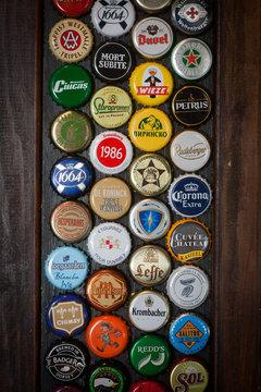 Branded beer bottle caps