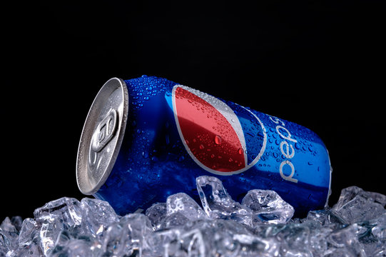 MINSK, BELARUS-AUGUST 16, 2015: Can of Pepsi cola on ice.