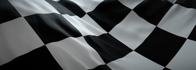 Racing flag, black and white squares.