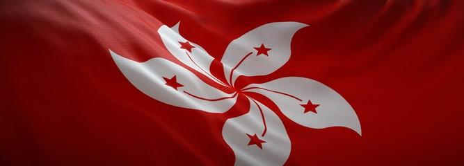 Recess Fitting Magenta Official flag of Hong Kong. Web Banner