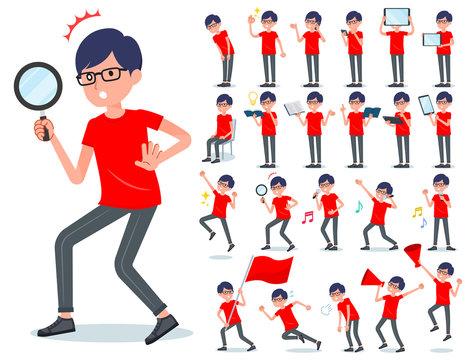 flat type red Tshirt Glasse men_Action