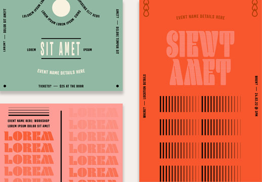 Social Media Post Layouts with Typography and Graphic Elements