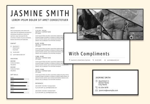 Minimalist Personal Branding Layout Set with Geometric Photo Masks