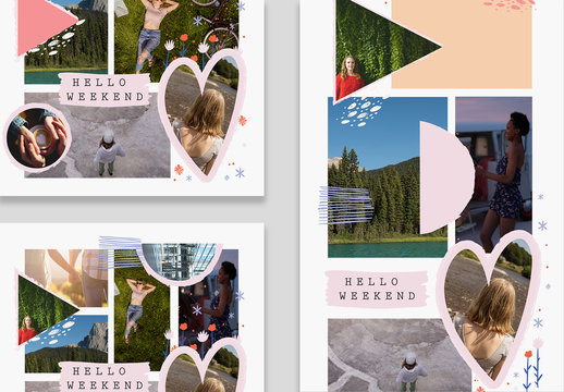 Social Media Collage Layouts with Heart Elements