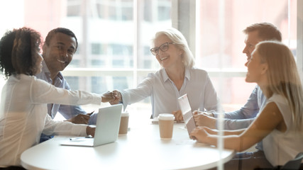 Diverse business partners handshake get acquainted at briefing