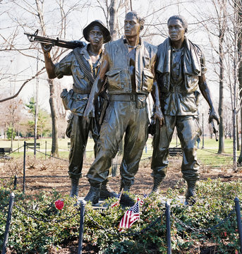 Washington,D.C. - Oct.2014  The three soildiers bronze sclpture in the Washington Vietnam Memorial in Washington D.C.