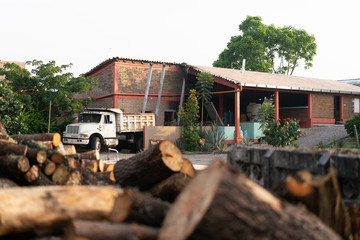 Modern brick house next to old truck and pile of logs surrounded by trees in daylight