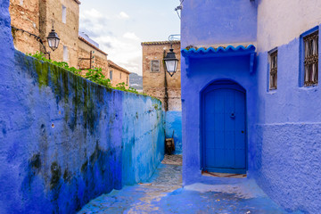 Sightseeing of Morocco. Beautiful blue medina of Chefchaouen town in Morocco