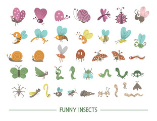 Set of vector hand drawn flat insects. Funny bugs collection. Cute forest illustration with butterflies, bees, caterpillars for children's design, print, stationery.