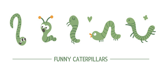 Set of vector hand drawn flat green caterpillars. Funny insects collection. Cute illustration with for children's design, print, stationery.
