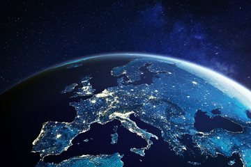 Europe from space at night with city lights showing European cities in Germany, France, Spain, Italy and United Kingdom (UK), global overview, 3d rendering of planet Earth, elements from NASA
