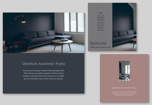 Social Media Post Set with Muted Color Block Elements