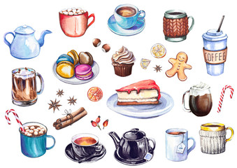 Coffee and dessert collection. Set of coffee cups, kettles, cakes and colorful macaroons. Watercolor isolated on white background.