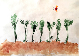 the soil with the seedling were painted in watercolor