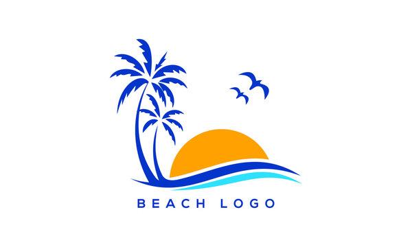 Palm tree icon of summer and travel logo vector illustration design, Beach logo design Vector, sunset logo design. wave logo vector illustration, Beach logo design Vector, holiday, palm logo template