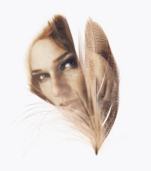 Beautiful woman with feather, double exposure, overlay, can be used as background
