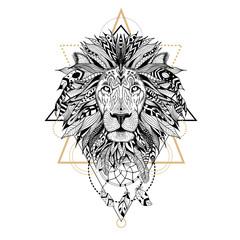 Hand drawn textured lion in aztec style.