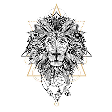 Hand drawn textured lion in aztec style.