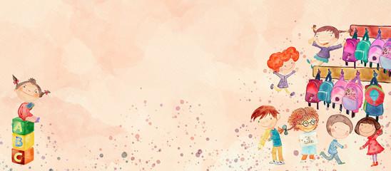 Kindergarten. Watercolor banner for children