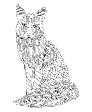 Sitting fox. Hand drawn picture. Sketch for anti-stress adult coloring book in zen-tangle style. Vector illustration  for coloring page, isolated on white background.