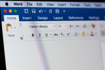 Microsoft office word menu