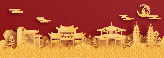 Fototapete - Panorama postcard and travel poster of world famous landmarks of Kunming, China in paper cut style vector illustration